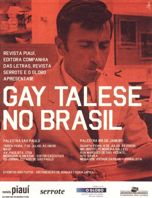 Gay Talese: Palestras em São Paulo e no Rio